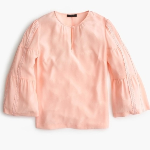 a399c5ec179b7 J Crew Embroidered Bell-Sleeve Silk Blouse.